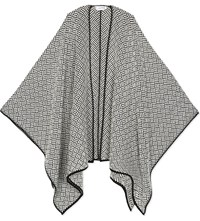 Max Mara Knitted Virgin Wool Cape Scarf Black White