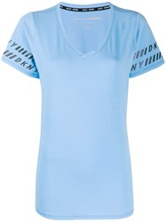 Dkny Logo Trim T Shirt Blue