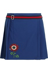 Gucci For Net A Porter Floral Appliqued Wool Blend Mini Skirt Royal Blue