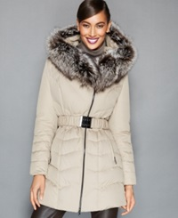The Fur Vault Fox Fur Trim Belted Quilted Puffer Parka