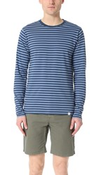 Norse Projects Svali Military Stripe Long Sleeve Tee Boundary Blue Marginal Blue