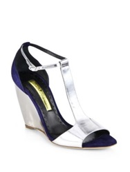 Rupert Sanderson June Suede And Metallic Leather Wedge Sandals Blue Silver