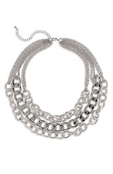 Cara Layered Chain Necklace Silver