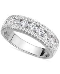 Arabella Sterling Silver Swarovski Zirconia Three Row Ring 2 1 10 Ct. T.W.
