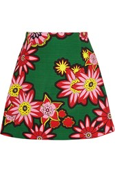 House Of Holland Dolly Floral Print Woven Cotton Mini Skirt Green