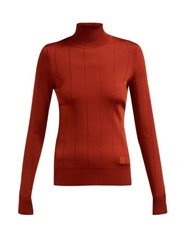 Givenchy High Neck Stretch Knit Top Dark Red