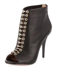 L.A.M.B. Tony Leather Peep Toe Bootie Black