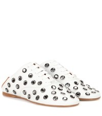 Acne Studios Mika Stone Leather Lace Up Slippers White
