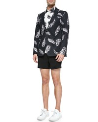 Ovadia And Sons Feather Patterned Two Button Sport Coat Black White
