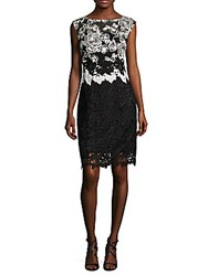 Kay Unger Lace Cap Sleeves Cocktail Dress Black White
