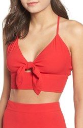 Leith Cross Back Crop Top Red Chinoise