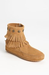 Women's Minnetonka 'Double Fringe' Boot Taupe