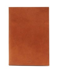 Jil Sander Logo Debossed Leather Document Holder Brown