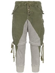 Greg Lauren Zip Shorts Cotton Trousers Grey