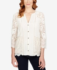Lucky Brand Three Quarter Sleeve Lace Blouse Birch