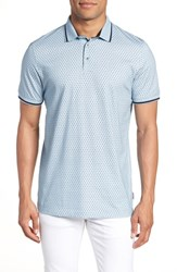 Ted Baker London Abot Trim Fit Print Polo Blue