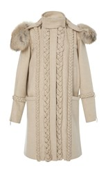 Prabal Gurung Braid Embroidered Wool Coat With Golden Fox Fur Neutral