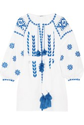 March11 Embroidered Linen Mini Dress White Blue