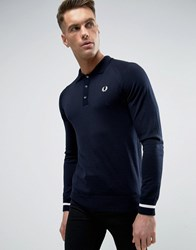 Fred Perry Laurel Wreath Knit Polo Long Sleeve Tipped Cuff In Navy White Navy