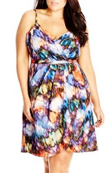 Plus Size Women's City Chic 'Watercolor Blur' Print Fit And Flare Dress