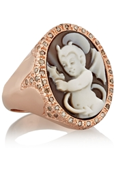 Amedeo Rose Gold Plated Sardonyx Shell And Diamond Devil Cameo Ring