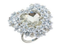 Betsey Johnson Blue By Silver With Crystal And Flower Accented Heart Ring Crystal Ring Gray