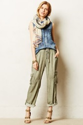 Anthropologie Rolled Utility Pants Moss