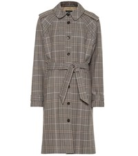A.P.C. Ava Checked Cotton Trench Coat Beige