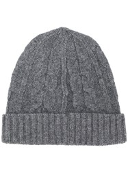 Pringle Of Scotland Cable Stitch Beanie Hat Grey