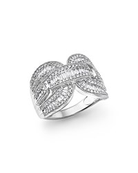 Bloomingdale's Diamond Round And Baguette Statement Ring In 14K White Gold 1.10 Ct. T.W.