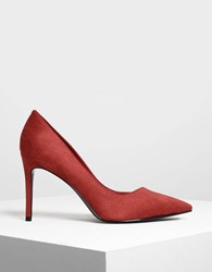 Charles And Keith Asymmetrical Topline Stilettos Red