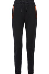 Prada Leather Trimmed Cotton Blend Jersey Track Pants Black Usd
