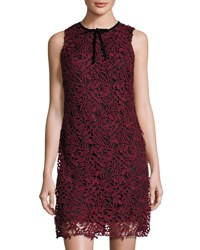 Taylor Sleeveless Embroidered Lace Overlay Sheath Dress Wine