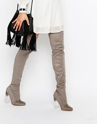 Truffle Collection Over The Knee Boot With Clear Heel Grey Mf