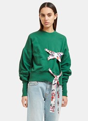 Msgm Floral Ribbon Tie Crew Neck Sweater Green