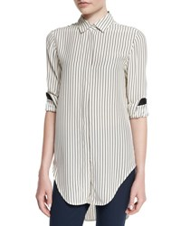 Rag And Bone Nightingale Striped Long Shirt Black White Blk Wht Strp