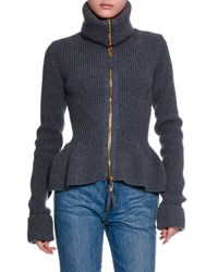 Alexander Mcqueen Ribbed Knit Wool Peplum Jacket Gray Dk Grey Ml