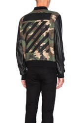Off White Leather Camo Bomber In Green Abstract Green Abstract