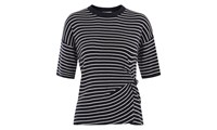 Whistles Stripe Knot Front Knitted Tee Multicolour