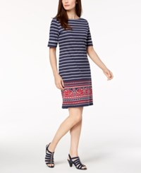 Karen Scott Striped Border Print T Shirt Dress Created For Macy's Intrepid Blue