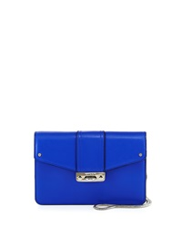 Milly Bryant Leather Flap Top Crossbody Bag Blue