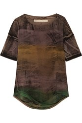 Raquel Allegra Distressed Tie Dyed Stretch Cotton Blend T Shirt Brown