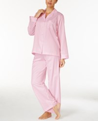 Miss Elaine Jacquard Dot Brushed Back Satin Pajama Set Pearl Pink