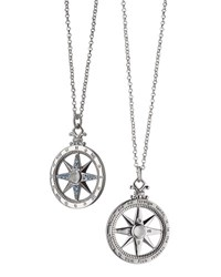 Monica Rich Kosann Sterling Silver Compass Necklace With Moonstone And Blue Sapphires Unassigned