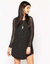 Rock And Religion Long Sleeve Low Back Shift Dress With Metallic Thread Black