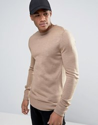 Brave Soul Basic Knit Sweater Beige