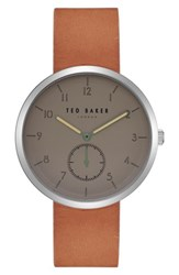 Ted Baker London Josh Leather Strap Watch 42Mm Light Grey Light Brown