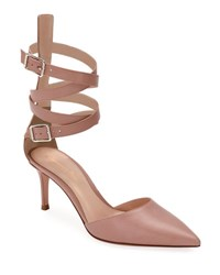 Gianvito Rossi Leather Ankle Wrap D'orsay Pump Nude