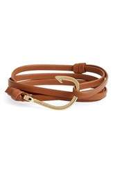 Men's Miansai Gold Hook Leather Bracelet Brown