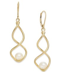 Macy's Cultured Freshwater Pearl 7Mm Twist Drop Earrings In 14K Gold Yellow Gold